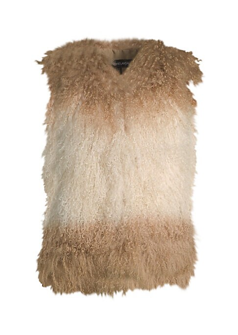 "Image of Lavish fur vest designed in two tone design. Roundneck. Sleeveless. Concealed closure. About 23"" from shoulder to hem. Fur type: Dyed lamb. Fur origin: China. Dry clean by fur specialist. Imported. .Model shown is 5'10"" (177cm) wearing US size 4. ."