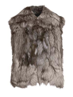 ADRIENNE LANDAU Fox Fur Jacket W/ Leather Inserts, Natural