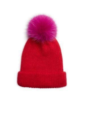 EUGENIA KIM Maddox Knit Fox Fur Pom-Pom Hat in Red