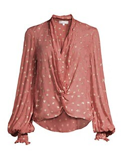 1b87666a0c014 Caroline Constas. Bette Metallic Silk Blouse