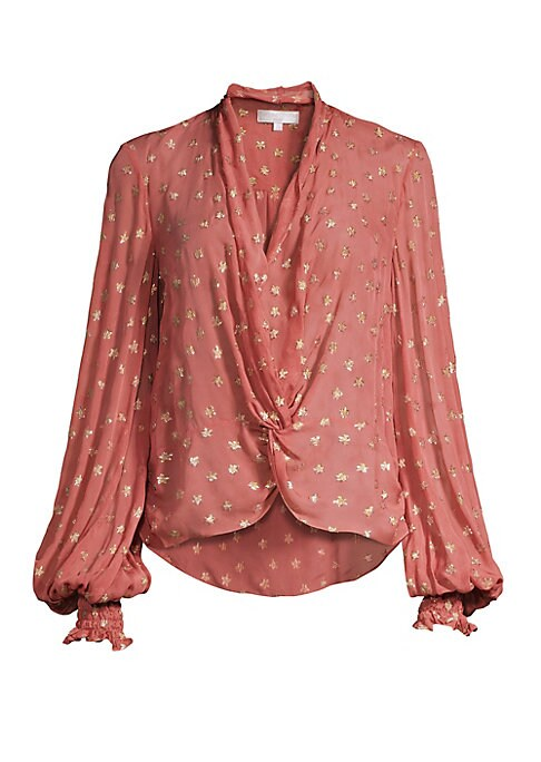 "Image of Bohemian twist-front silk blouse dotted with metallic stars for a romantic look. Shawl collar. Long puff sleeves. Pullover style. Smocked ruffle cuffs. Twist front. High-low hem. Silk/metallic. Dry clean. Made in USA. SIZE & FIT. About 24"" from shoulder t"