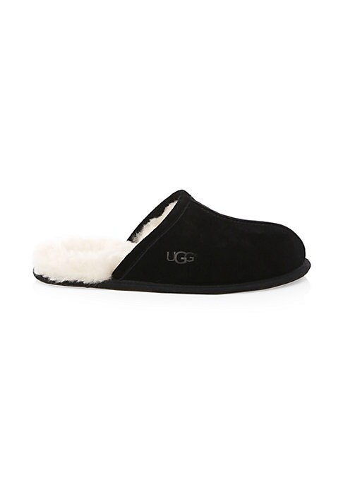 Image of Suede leather slip-ons lined in lamb fur. Suede upper. Round toe. Slip-on style. Lamb fur lining. Leather sole. Padded insole. Fur type: Dyed lamb. Fur origin: Australia. Imported.