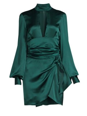 CAROLINE CONSTAS Lana Pussy-Bow Stretch-Silk Satin Mini Dress in Emerald