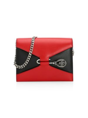 Pin Two-Tone Leather Shoulder Bag, Red Black