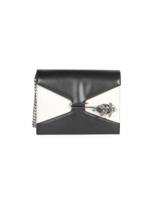 Pin Swarovski Crystal-Embellished Two-Tone Leather Shoulder Bag in Black