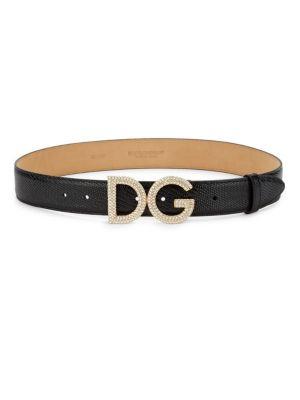 DOLCE & GABBANA Crystal Logo Buckle Iguana Embossed Leather Belt in Nero