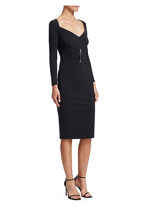"Image of A sleek, layered-bodice dress with front zipper accent.V-neck. Long sleeves. Pull-on style. Polyamide/elastane. Hand wash. Made in Italy. SIZE & FIT. Figure-hugging silhouette. About 43"" from shoulder to hem. Model shown is 5'10"" (177cm) wearing US size 4"