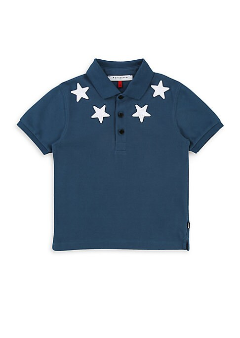 Image of Classic polo features striking star embroidery. Polo collar. Short sleeves. Rib-knit cuffs. Three-button placket. Step hem. Cotton. Machine wash. Imported.