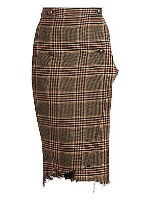 a10c907983 Vetements - Check & Plaid Wool Handkerchief Wrap Pencil Skirt