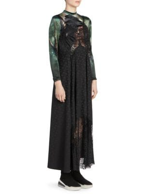 Jh Lynch Tina Long-Sleeve Velvet Top Attached Floral-Print & Lace Silk Cami Dress in Black