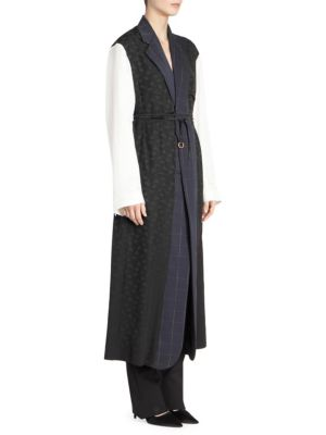 Oversized Mixed-Media Belted Robe-Style Coat in Black