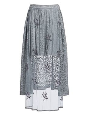 Isabella Tulle & Lace Combination High-Low Skirt in Grey
