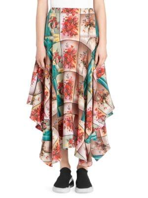 Flower Vase Print Silk Midi Skirt in Neutrals