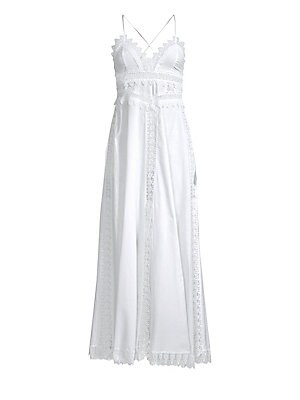 "Image of Dainty crochet maxi dress is the perfect summer look. Scalloped V-neck Sleeveless Back criss-cross tie straps Concealed back zip Crochet panel accents Lace hem Cotton/polyester Hand wash Made in Spain SIZE & FIT A-line silhouette About 51"" from shoulder t"