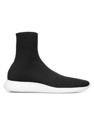 VINCE Abbot Ribbed Stretch-Knit High-Top Sneakers in Black