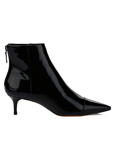 """Image of A high-shine patent leather finish lends these point toe booties an avant-garde aesthetic. Patent leather upper. Point toe. Back zip closure. Leather lining and sole. Made in Brazil. SIZE. Self-covered kitten heel, 2"""" (50mm)."""