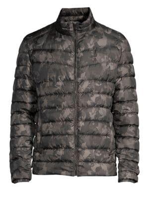 STRELLSON Slim-Fit Camo Puffer Jacket in Dark Grey