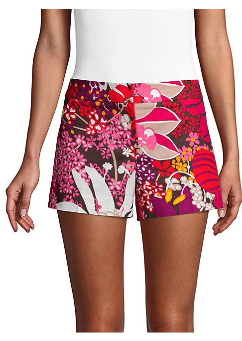 """Image of Stunning floral-print adds vibrant elements to shorts. Banded waist. Zip fly with hook closure. Side slash pockets. Rise, about 8"""".Inseam, about 3.75"""".Cotton/spandex. Dry clean. Made in USA of imported fabric. Model shown is 5'10"""" (177cm) wearing US size"""