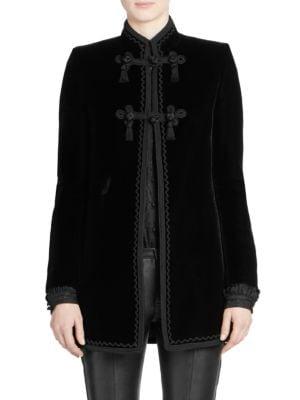 Mandarin-Collar Frog-Closure Velvet Coat W/ Border Trim in Black