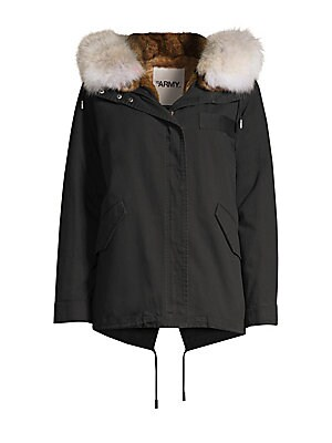 Image of Classic cold weather style warmed by rabbit fur lining and coyote fur trim at the hood. Attached hood Long sleeves Front flap pockets Zip-front Cotton Lining fur type: Natural rabbit Lining fur origin: Spain Hood trim fur type: Natural coyote Hood trim fu