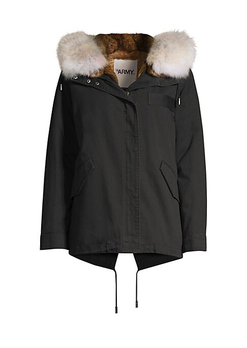 Image of Classic cold weather style warmed by rabbit fur lining and coyote fur trim at the hood. Attached hood. Long sleeves. Front flap pockets. Zip-front. Cotton. Lining fur type: Natural rabbit. Lining fur origin: Spain. Hood trim fur type: Natural coyote. Hood