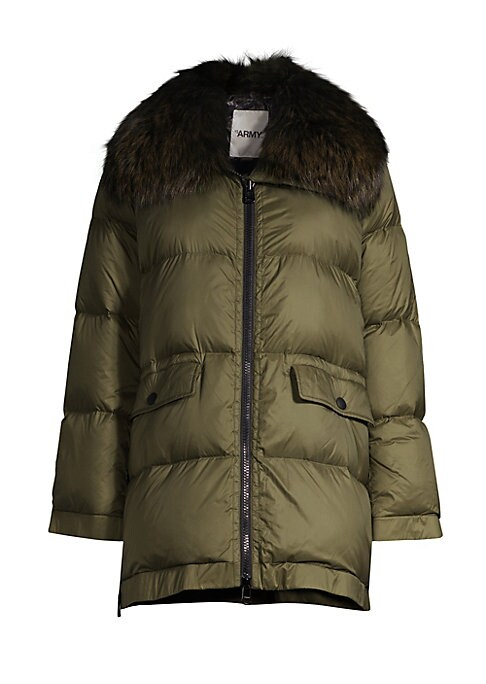 Image of Plush fox fur accents this essential quilted puffer jacket. Foldover collar with removable fox fur. Long sleeves. Front flap-snap button pockets. Zip-front. Polyester/polyurethane. Fur type: Dyed fox. Fur origin: Finland. Dry clean by fur specialist. Made