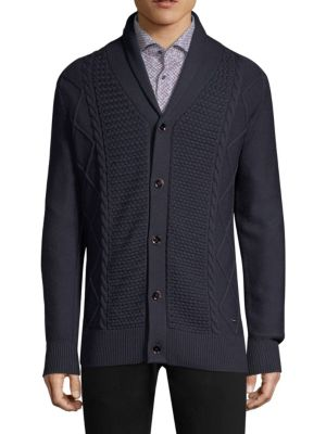STRELLSON Regular-Fit Cable Knit Virgin Wool Cardigan in Navy