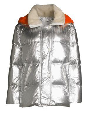 Yves Salomon Shearling Hood Metallic Puffer Jacket