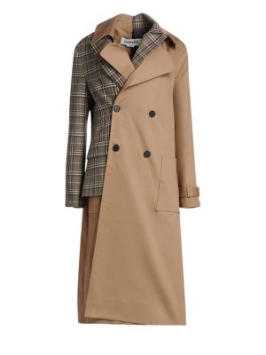 Checked Twill And Wool-Blend Trench Coat in Brown