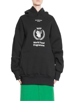 World Food Programme Oversize Brushed Felt Hoodie, Noir Beig