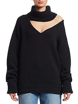 7a805fde3bbaf8 Monse - Wool Drop Shoulder V-Neck Turtleneck Sweater - saks.com