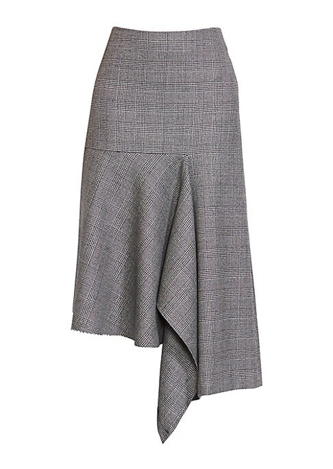 Image of From the Saks IT LIST. SUIT YOURSELF. The new suit: equal parts precision tailoring and feminine fit. Expertly draped to an asymmetrical silhouette, this skirt menswear-inspired skirt is patterned with handsome Prince of Wales checks. Concealed back zip c