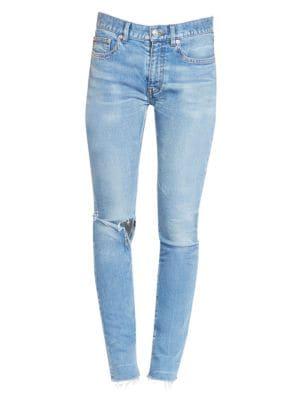 Raw Hem Ripped Skinny Jeans by Balenciaga