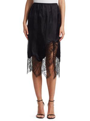 Black Lace-Trimmed Satin Midi Skirt