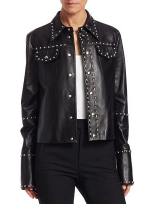 Studded Snap-Front Leather Moto Jacket, Black