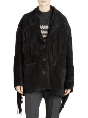 V-Neck Button-Front Fringe Suede Oversized Jacket, Black