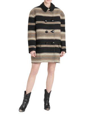 Hilda Leather-Trimmed Wool-Blend Belted Jacket Size 36 Fr in Black