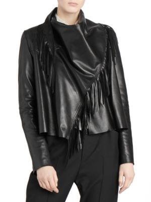 Asymmetric Fringe Lamb Leather Jacket, Black
