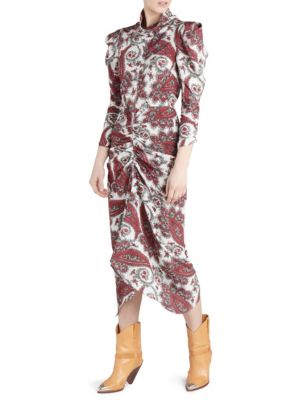 Strong-Shoulder Paisley-Print Ruched Midi Dress in Red