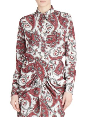 Techno-Pattern Button-Front Long-Sleeve Blouse, Red