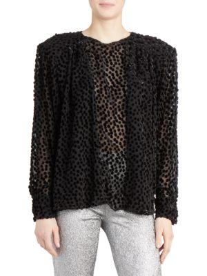 Midway Dotted Fil Coupé Chiffon Blouse - Black Size 38 Fr