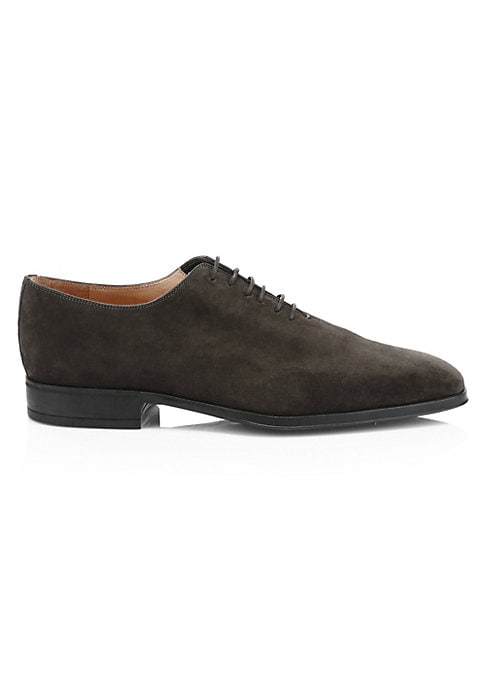 Image of Sophisticated dress shoe in a textured suede fabrication. Suede upper. Point toe. Lace-up vamp. Leather lining. Padded insole. Rubber sole. Made in Italy.