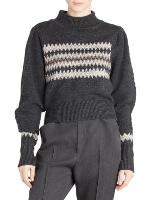 Turtleneck Volume-Sleeve Striped-Intarsia Wool Sweater, Anthracite