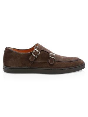 Jarvis Suede Buckle Sneakers by Santoni