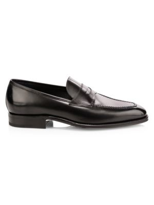 SUTOR MANTELLASSI Olimpo Leather Penny Loafers in Black