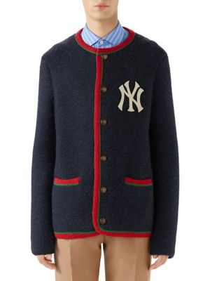 Men'S Contrast-Trim Ny Yankees Mlb Cardigan in Blue