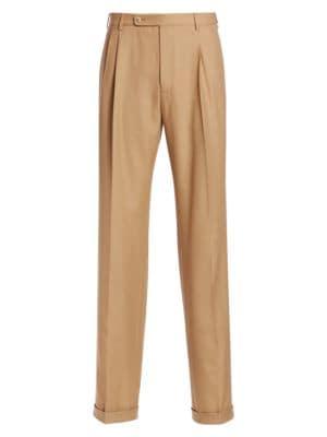 Men'S Pleated Straight-Leg Trousers, Beige Wool