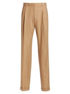 Cuffed Wool Trousers - Beige, Tan Size 48 Eu