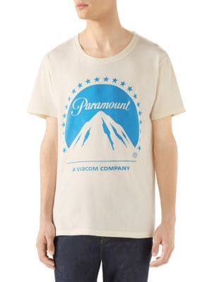 Paramount & Logo Print Jersey T-Shirt, Off-White Cotton
