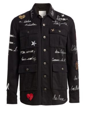 Cinq A Sept Multi-Pocket Printed Jacket - Black